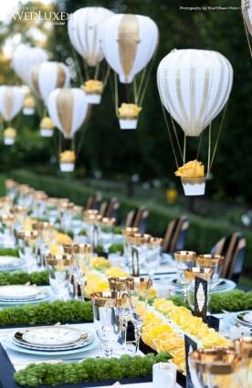 Tischdeko Heißluftballong wedding yellow